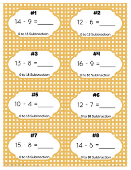 0 to 18 Subtraction Task Cards