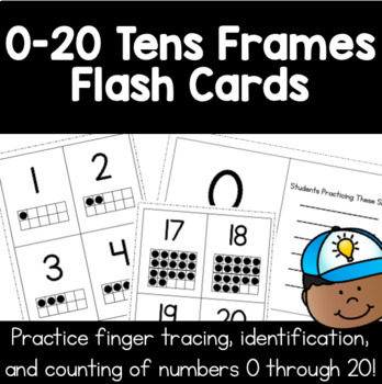 0 to 20 Flash Cards - Tracing, Number Id, Ten Frames