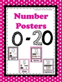Number Posters 0 - 20 black, pink and white