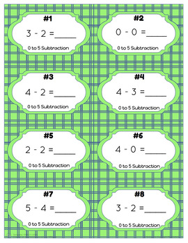 0 to 5 Subtraction Task Cards