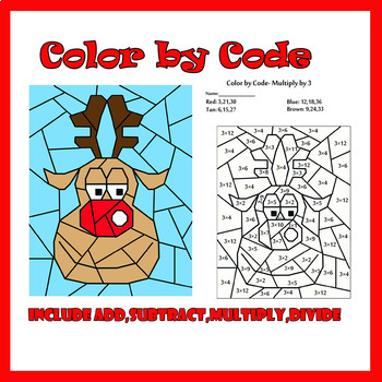 Color by Code: Christmas Reindeer Basic Math Facts by ColorDreamStudio