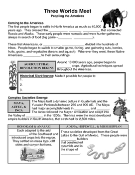 01 - Three Worlds Meet - Scaffold/Guided Notes (Blank and Filled-In)