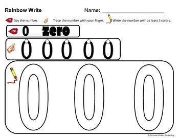 0,1,2,3 No-Prep Freebie Numeral Rainbow Write