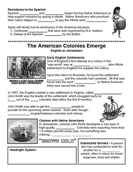 02 - The American Colonies Emerge - Scaffold/Guided Notes (Blank and Filled-In)