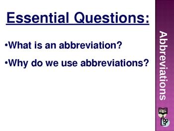 022 - Abbreviations - Grades 2-3