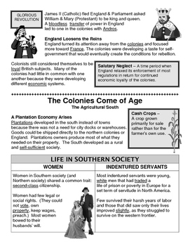 03 - The Colonies Come of Age - Scaffold/Guided Notes (Filled-In Only)