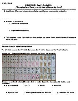 04 Unit 1 - Day 2 Homework - Theoretical/Experimental Probability