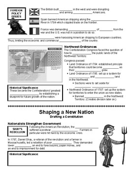 05 - Shaping a New Nation - Scaffold/Guided Notes (Blank and Filled-In)