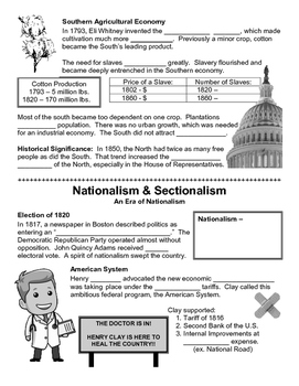 07 - Nationalism and Sectionalism - Scaffold/Guided Notes (Blank and Filled-In)
