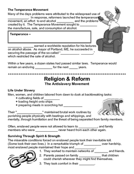08 - Religion and Reform - Scaffold/Guided Notes (Blank and Filled-In)
