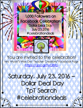 1,000 Facebook Followers Celebration-- One Day Dollar Deals