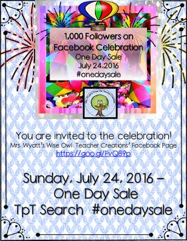 1,000 Facebook Followers Celebration--One Day Sale