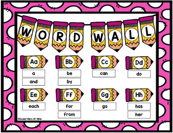 1,000 Fry Words - Pencil Theme Word Wall