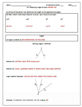 Angles and Line Segments Editable Word Document