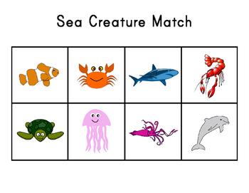 1:1 Animal Match - Pets, Sea Creatures, Farm Animals