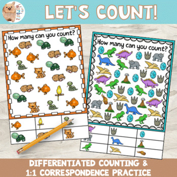 1:1 Correspondence Counting Cards - 1 - 10, Differentiated