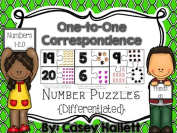 1-1 Correspondence Differentiated Math Puzzles {1-20}