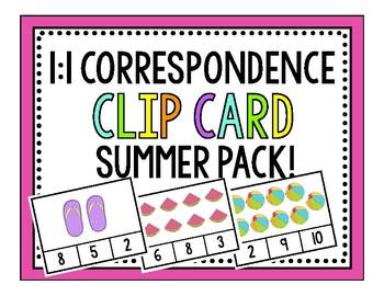 1:1 Correspondence Summer Clip Cards