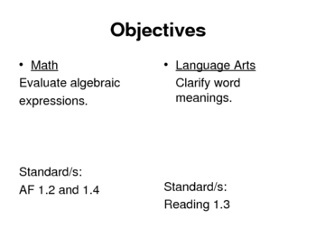 1-1 Evaluate Algebraic Expressions