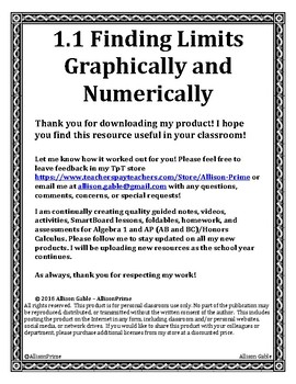 1.1 Finding Limits Graphically and Numerically