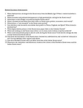 1.1 The Renaissance - Content Review Sheet