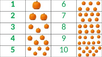 1:1 correspondence, numbers 1-10 (pumpkins, fall)