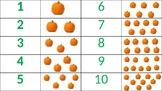 1:1 correspondence, numbers 1-10 (pumpkins, fall)