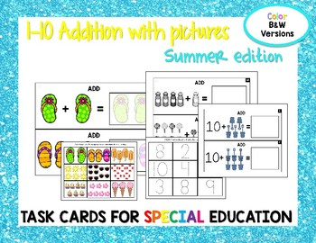 1-10 Addition Task Cards- Summer edition
