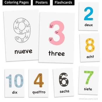 1-10 Animal Numbers Printables: Multilingual Posters, Flas