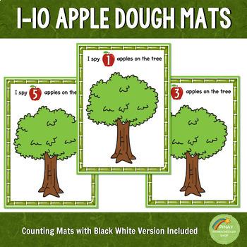 1-10 Apple Counting Playdough Mats