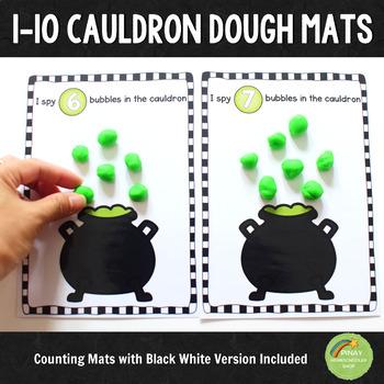 1-10 Cauldron Halloween Counting Dough Mats
