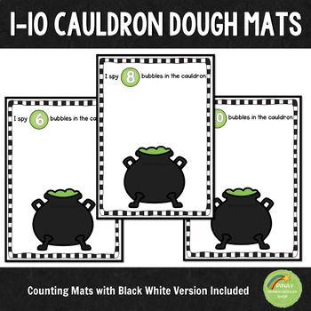 1-10 Cauldron Halloween Counting Dough Mats