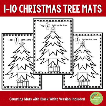 1-10 Christmas Tree Counting Dough Mats