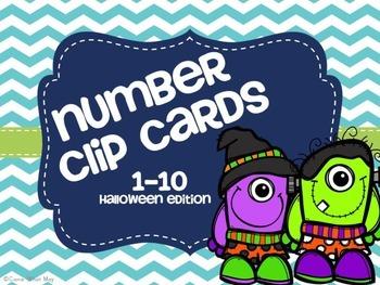 1-10 Clip Cards Halloween Edition