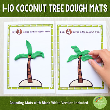 1-10 Coconut Tree Playdough Counting Mats
