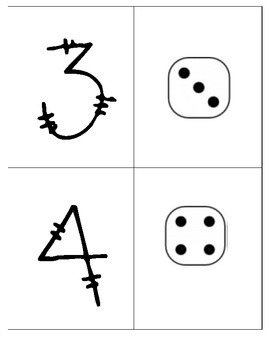 1-10 Dice Number Matching flashcards