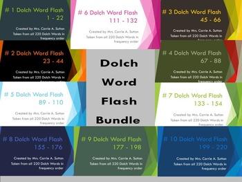 #1 - 10 Dolch Word Flash Bundle 1 - 220 - PowerPoint Slideshows