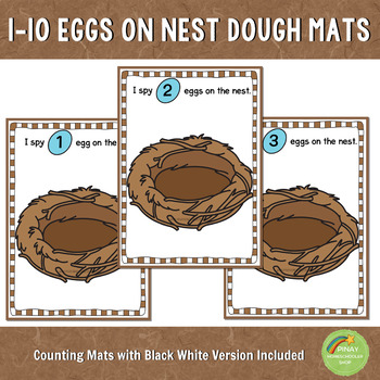 1-10 Eggs on Nest Counting Playdough Mats