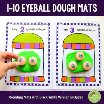 1-10 Eyeballs Halloween Counting Dough Mats