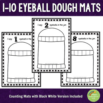 1-10 Eyeballs Halloween Counting Playdough Mats