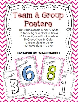 1-10 Group, Table & Team Signs B&W or Color (Pink Chevron)
