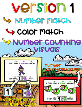 1-10 Interactive Counting Number Match & Identifying Colors Fall Book (Autism)