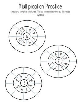 1-10 Multiplication Wheels