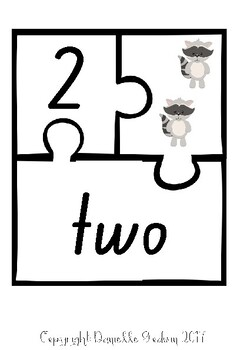 1-10 Number Matching Puzzle Woodland Theme