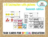 1-10 Subtraction Task Cards- Summer edition