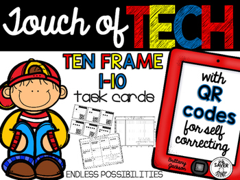 1-10 Ten Frame Task Cards with QR Codes for Self-Correcting