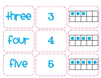 1 - 10 cards with tens frames, numerals, number words