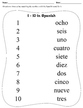 Numbers 1 - 10 in Spanish
