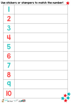 1-10 number sense stamping/sticker sheet