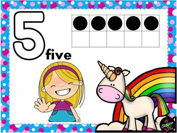 Numbers 1-10 with unicorns theme